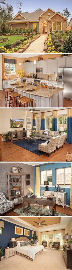 The Tinsley is a luxurious one-story, 4 bedroom home that can be found in The Groves community in Humble, TX. Homeowners in The Groves will enjoy not only a beautiful home like The Tinsley with a relaxing wooded view but also nearly acres of hike & Dream Home Design, My Dream Home, House Design, House Goals, Architecture, Home Builders, Home Buying, Home Deco, Future House