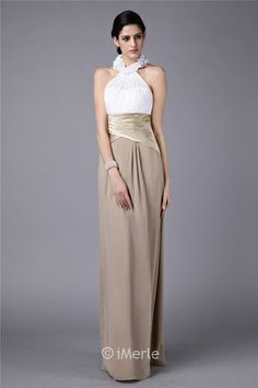 elegant long white and champagne bridesmaid dress