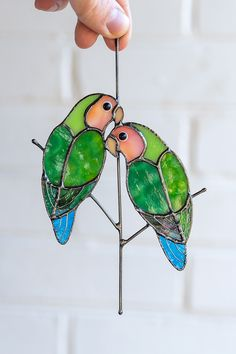 Love birds stained glass window hangings decor Anniversary gift for wife Custom Stained Glass, Stained Glass Suncatchers, Stained Glass Flowers, Faux Stained Glass, Stained Glass Designs, Stained Glass Projects, Stained Glass Patterns, Stained Glass Windows, Mosaic Patterns