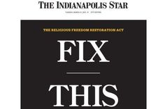 Top Indiana paper runs front-page editorial on 'religious freedom' law: 'Fix this now'