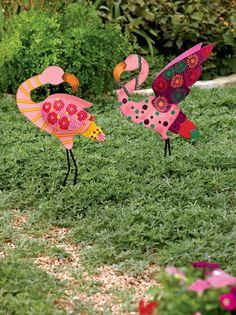 Metal Yard Art: Calico Standing Pink Flamingo Stake | Gardeners.com