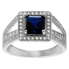 1 1/2 CT. T.W. Square-cut Cubic Zirconia Halo Prong Set Ring in Sterling Silver -