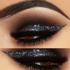 black smokey eye w/ a thick silver glitter liner @lou_flores (lvglamduo) | #dramatic winged eyeliner glam makeup