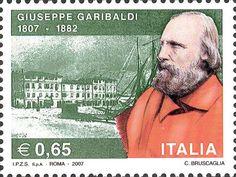 2007 -  2º centenario della nascita di Giuseppe Garibaldi  - Ritratto di Giuseppe Garibaldi, sullo sfondo un' immagine d'epoca del porto di Nizza e della casa natale dell'eroe dei due mondi.