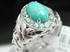 $530 ColoreSG by LORENZO 925 Sterling Silver & 18k White Gold Genuine Turquoise & Green Tourmaline Ring