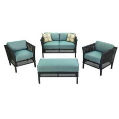 Hampton Bay Fenton Wicker Outdoor Patio Seating Set with Peacock Java Patio Cushion - The Home Depot Home Depot, Patio Cushions, Yellow Cushions, Patio Seating, Small Patio, Outdoor Dining, Outdoor Furniture Sets, Living Spaces, New Homes