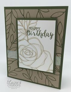 handmade birthday card from Elaine's Creations ... Rose Wonder ... monochromatic kraft ... luv the look ...