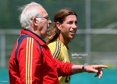 Coach Luis Aragones (L) of Spain talks with Sergio Ramos at the end of a light training session on June 19, 2008 in Neustift im Stubaital, Austria. Spain are preparing for their quarter-final Euro2008 match against Italy on June 22 in Vienna, Austria.