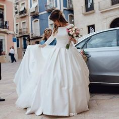 Ivory A Line Wedding Dresses Long Sleeve Satin Elegant Bridal Wedding Dresses Backless Vintage Wedding Dress Vestido De Noiva Wedding Dress Beach Wedding Evening Dresses Online with $249.15/Piece on Rosemarybridaldress's Store | DHgate.com