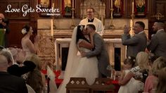 You may kiss the bride! How happy do they look?  Wedding ceremony at St Peter's Church in Middleton