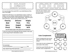 Elements of Art Sketchbook Activities: Sketchbook activities to introduce young artists to some of the concepts of line, color,shape, value, form space and texture. 3 pages that can be cut apart and pasted into a sketchbook with activities and prompts for Elements And Principles, Elements Of Art, Middle School Art, Art School, Art Handouts, Art Worksheets, Art Curriculum, Art Sketchbook, Sketchbook Prompts