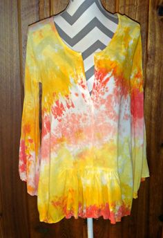 Coral & Yellow High Low Tunic Top Cover-up Bell 3/4 Sleeve Tie Dye Rayon Blouse #LocalCelebrity #Tunic #Casual