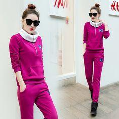 Women Autumn New Tracksuit Spring Korean Slim Fashion  Hoodies Pants Outfit Two-Piece Clothing Set Casual Clothes Plus Velvet