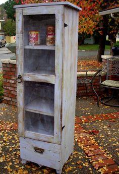 Shabby Furniture, Pie Safe Cabinet - Storage Shelf. $800.00, via Etsy.