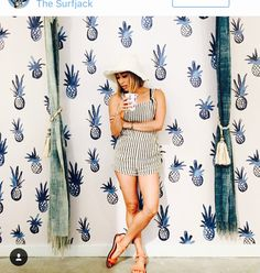 Pineapple wallpaper at Olive Boutique at The Surf Jack Hotel Oahu