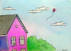 Original ACEO Painting -- Fly away red balloon