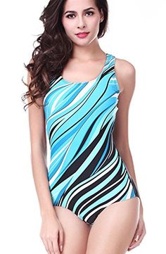 Charmleaks Junior One Piece Swimsuit one piece athletic swimsuit swimsuits One Piece,Blue,Large Best Swimsuits, Women's One Piece Swimsuits, Women Swimsuits, Swim Shirts For Women, Athletic Swimwear, High Neck One Piece, Women Figure, Swimsuit Cover Ups, Outdoor Woman