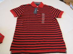 Men's Tommy Hilfiger Polo shirt stripe knit logo 7845165 Summer Red 613 XXL Slim