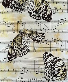 Can't this be done with a download on old sheet music?  Print for show to display. Use birds, butterfly, flower, nest, small graphic etc.