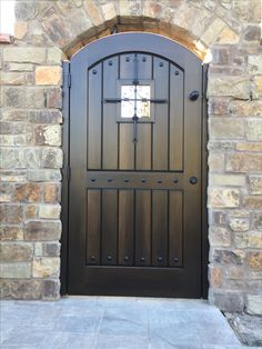 Custom Wood Gate by Garden Passages - Beautiful Tuscan Style Entry Gate with Decorative Metal Clavos and See-Through Opening with Decorative Metal Grill