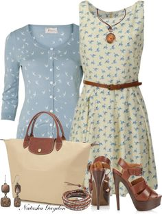 """For The Birds!"" by natasha-gayden on Polyvore This outfit reminds me of The Notebook, 'If you're a bird I'm a bird"""