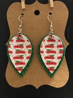 Earrings Diy Farmhouse Farm Truck Christmas Truck Tree Pinch Top Faux Leather Earrings - Does it get any cuter than this? Faux leather earrings are lightweight and measure approximately 2 inches. Diy Leather Earrings, Gold Bar Earrings, Sterling Silver Earrings Studs, Diy Earrings, Leather Jewelry, Silver Jewelry, Crystal Earrings, Silver Ring, Tassel Earrings