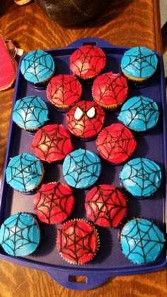 Spiderman cupcakes for school birthday.