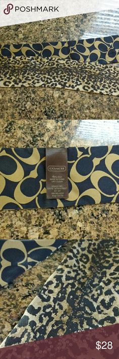 Nwot Coach reversible ribbon scarf Nwot Coach emblems on one side. Leopard with rhinestone coach on the other. Can be used as a head band that ties Coach Accessories Hair Accessories