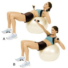 Lying 1-2 Punch: Grab a dumbbell in each hand and rest your midback on an exercise ball (A). Contract your abs and curl your head, shoulders, and torso off the ball. Then, extend your right arm across your body while twisting slightly to the left (B). Immediately lower the weight and repeat with the left arm while twisting slightly to the right. That's 1 rep. Return to start and repeat. Do 10-12 reps.