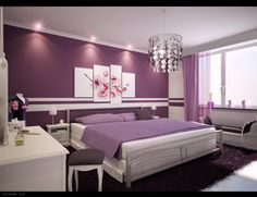 Decorating Furniture Interior. Best Inspiring Interior Designs and Decorations. Romantic Modern White Purple Bedroom Design Ideas With Metal Framed White Bedding With Purple Comforter Platform Bed And White Wooden Nightstands With Storage Open Shelf Plus Tiny White Shade Table Lamps Together With Mirrored Shade Chandelier Also Dark Purple Upholstery Daybed Bench Plus White Wooden Dresser With Mirror Also Beautiful Pink Flowers Art Painting Wall Decoration. Interior Design Decoration Ideas