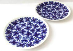 Pair 2 Side Plates Rorstrand Mon Amie Blue Floral Mid Century Modern Design