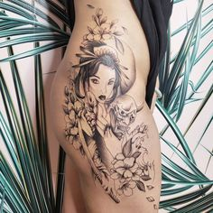 Side thigh geisha tattoo done by Vancouver artist Jamie Kan Dragon Tattoo Full Back, Full Back Tattoos, Side Thigh Tattoos, Rose Tattoo Thigh, Vancouver Tattoo Artists, Irezumi Tattoos, Geisha Tattoos, Inked Magazine, Black And Grey Tattoos