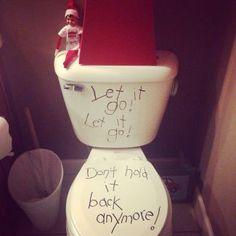 Elf on the Shelf Frozen toilet.