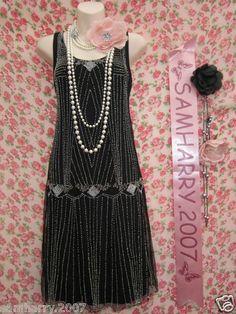 H M Charleston 20's Style Black Bead Gatsby Art Deco Flapper Dress s 10 12 | eBay