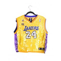 All Sequined Lakers Jersey ($300) ❤ liked on Polyvore featuring yellow jersey