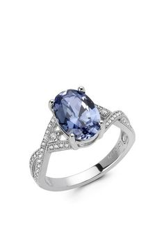 Micro Pave Simulated Diamond & Oval Created Tanzanite Ring by Lafonn on @HauteLook