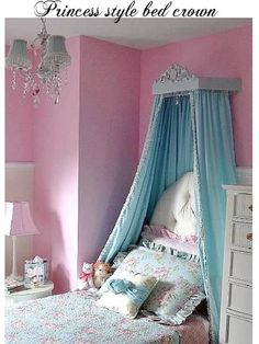 Bed canopy crown with initial for nursery or young princess room. $120.00, via Etsy.