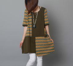 Navy summer cotton dress Asymmetric striped patchwork sundress oversize