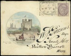 Hand Illustrated and Later Printed Envelopes: 1886 (Jan. 27th) fine watercolour vignette of Rochester Castle to left of envelope sent from London to Wootton Bassett, franked 1881 1d. lilac tied by Hoster machine cancel, fancy embossed monogram on flap, a little light staining.: