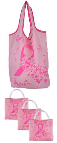 #PinkRibbon Courage Compact Shopping Bags - Set of 3 - Funds #mammograms - #thinkpink
