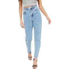 Miss Selfridge Mom Jeans (180 RON) ❤ liked on Polyvore featuring jeans, bleached denim, destroyed jeans, blue ripped jeans, tapered jeans, 80s acid wash jeans and high waisted jeans