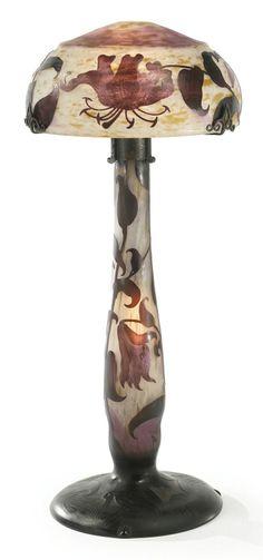 ** Daum Frères, Nancy, Etched Glass Lamp.