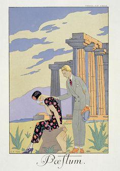 iCanvas Paestum, 1924 (pochoir print) Gallery Wrapped Canvas Art Print by Georges Barbier Illustration Française, Art Et Architecture, Inspiration Art, Art Deco Movement, Art Vintage, Art Deco Design, Vintage Travel Posters, Oeuvre D'art, Illustrators