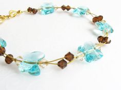 Turquoise Butterfly Bracelet Sparkling Summer Jewelry by SkyLineJewelry, $20.00