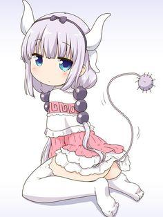 Dragon Girl, Miss Kobayashi's Dragon Maid, Anime Kawaii, Anime Chibi, Neko, Otaku, Animal Crossing Funny, Kobayashi San Chi No Maid Dragon, Kanna Kamui
