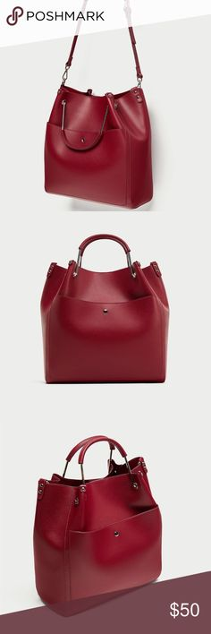 Tote Bag With Top Handle Red tote bag with top handle Zara Bags Totes