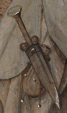 "ballock-dagger and purse detail from Bosch's [Boijmans Mus, Rotterdam] ""Pedlar"" -- so ante 1510."