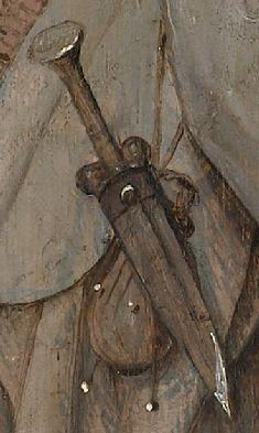 "ballock-dagger and purse detail from Bosch's [Boijmans Mus, Rotterdam] ""Pedlar"" -- so ante 1510."