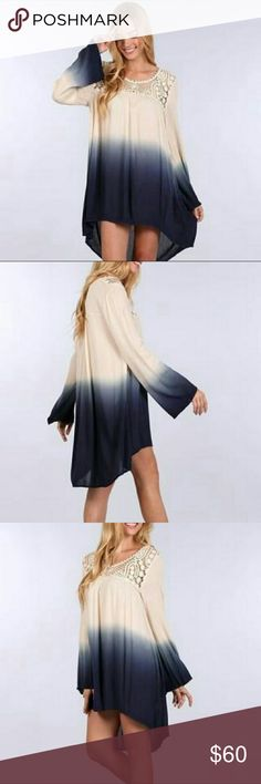 BLU PEPPER OMBRE PEASANT DRESS Loose and comfy. GREAT condition. Crochet detail front. Urban Outfitters Dresses