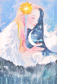 낮에는 태양 아래 무지개가 흐르고  밤에는 등대 위로 달이 피어나는 곳  ㆍ만년설_permanent snow ㆍ 201*296mm ㆍ연필…